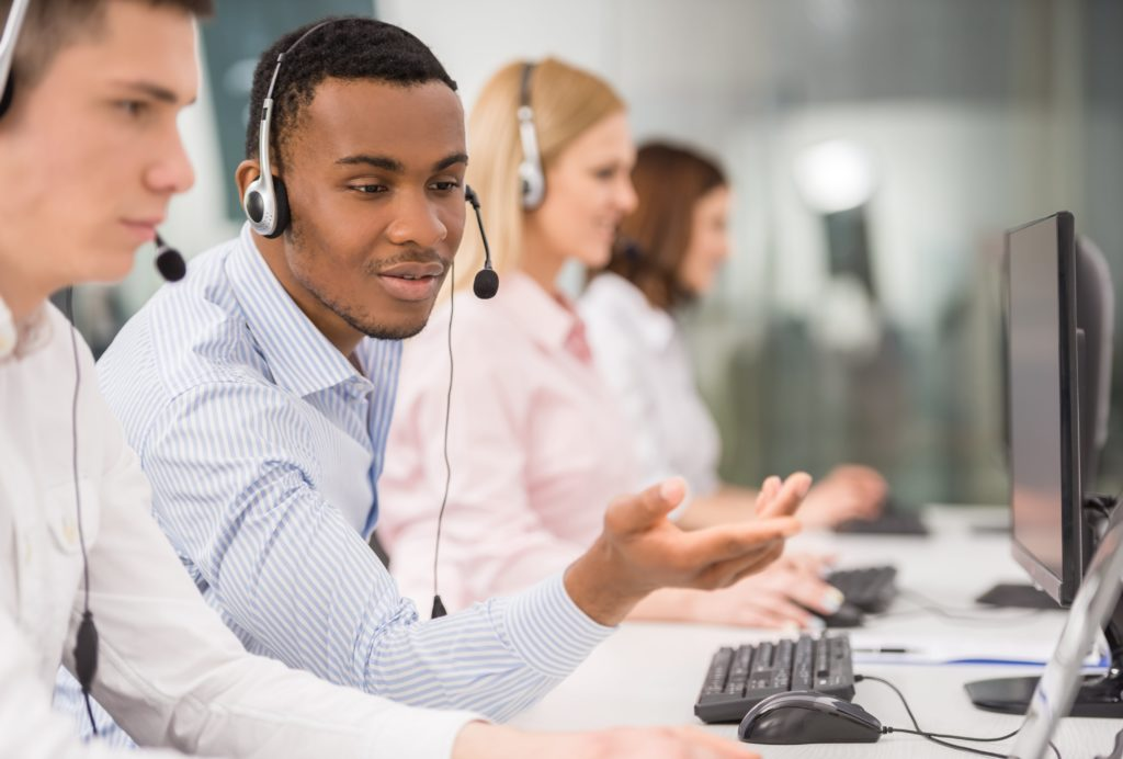Call centre agents at work.