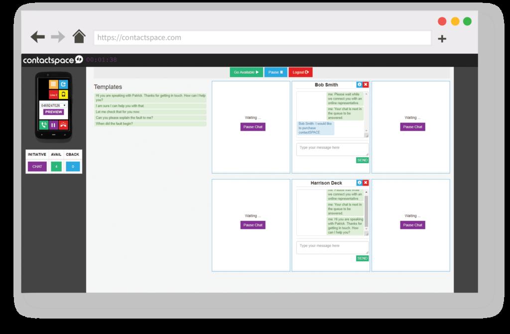 contactSPACE livechat interface.