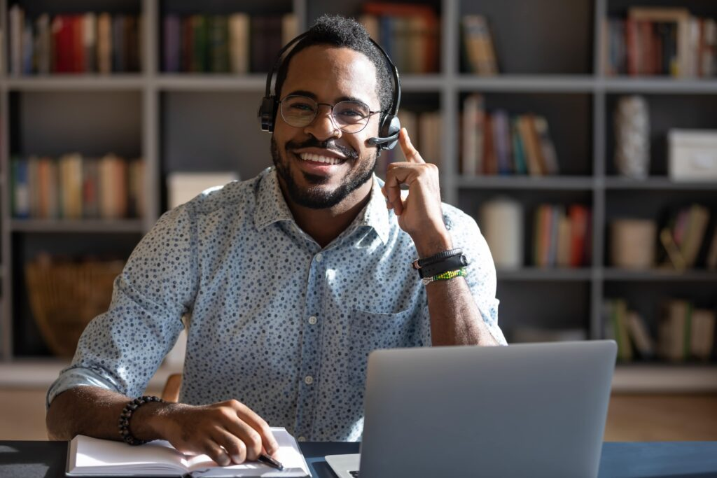Remote call centre agent.