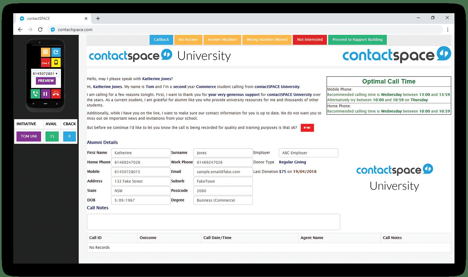contactSPACE CallGuide interface.