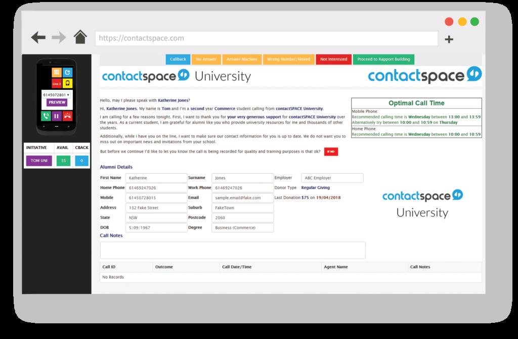 contactSPACE CallGuides example.